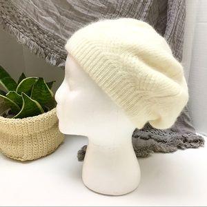 ❄️ Cozy Angora Ivory Knit Hat Beret / Beanie